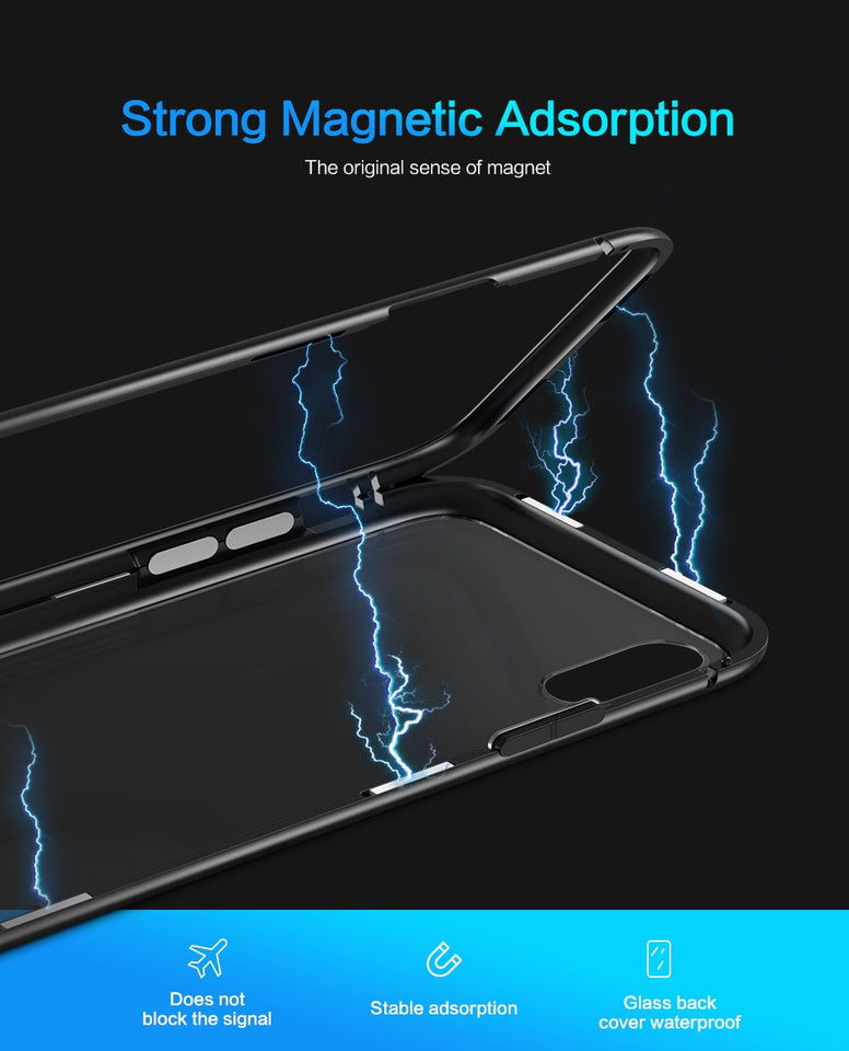 Magnetic Metal Case For Apple iPhone X Tempered Glass Case - NeobitShop