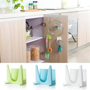Wall Housekeeper Plastic Kitchen Pot Pan Cover Shell Cover Sucker Tool Bracket Storage Organizer Rack Hanger - NeobitShop
