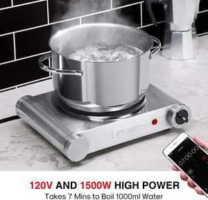SUNAVO Hot Plate for Cooking Portable Electric Single Burner 1500W 5 Power