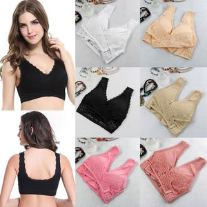 1PC Lace Sexy Lingerie Wire Free Front Cross Side Buckle Underwear Seamless Wireless Lace Bra Breathable Sport for Women Push Up