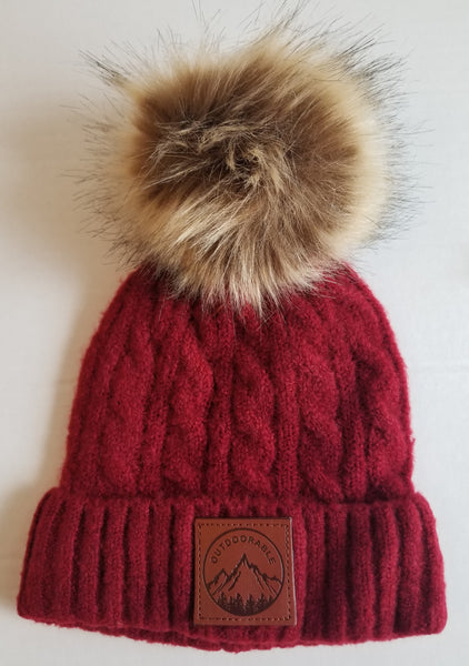 Kids Deep Red Pom Pom Beanie