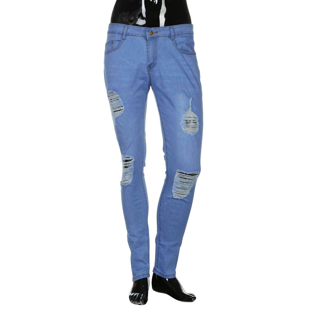 Men's Stretchy Ripped Skinny Biker Jeans