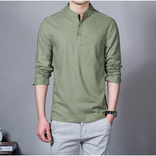 Men 's Long Sleeved Cotton and Linen