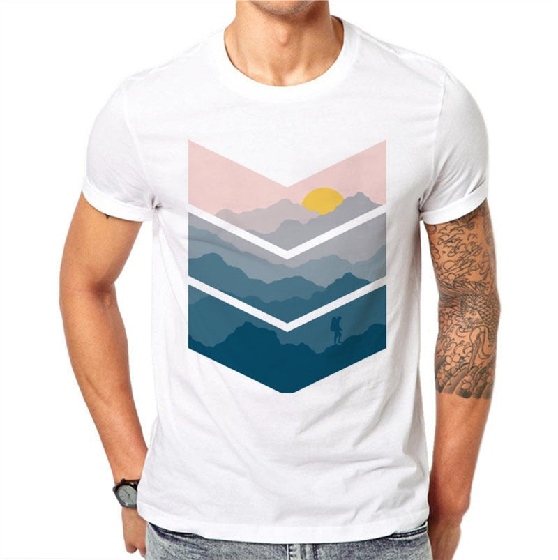 100% Cotton Sunrise View Design Men T-shirt Printed