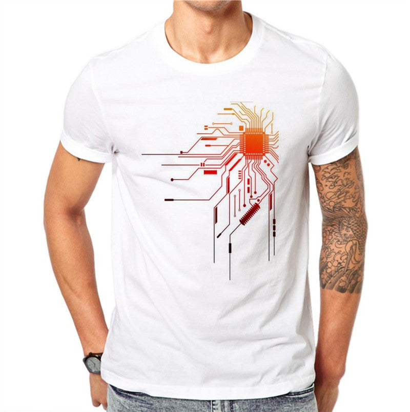 100% Cotton Personality Summer Men T Shirt Colorful Circuit Diagram 3D Print