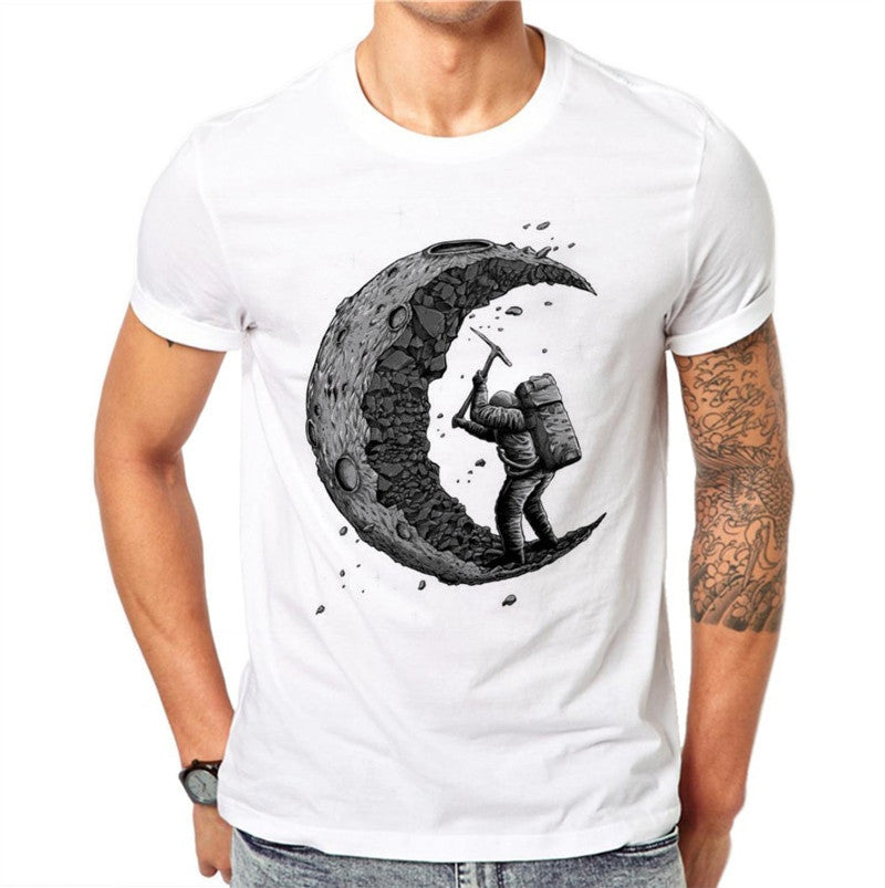 100% Cotton 3D Moon Printed Men T-shirts