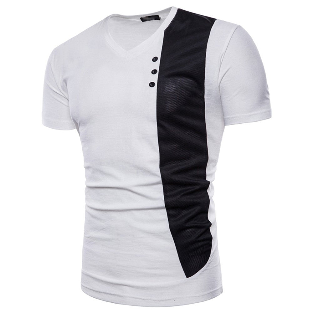 Mens Casual Short Sleeve Shirt Muscle Slim Fit