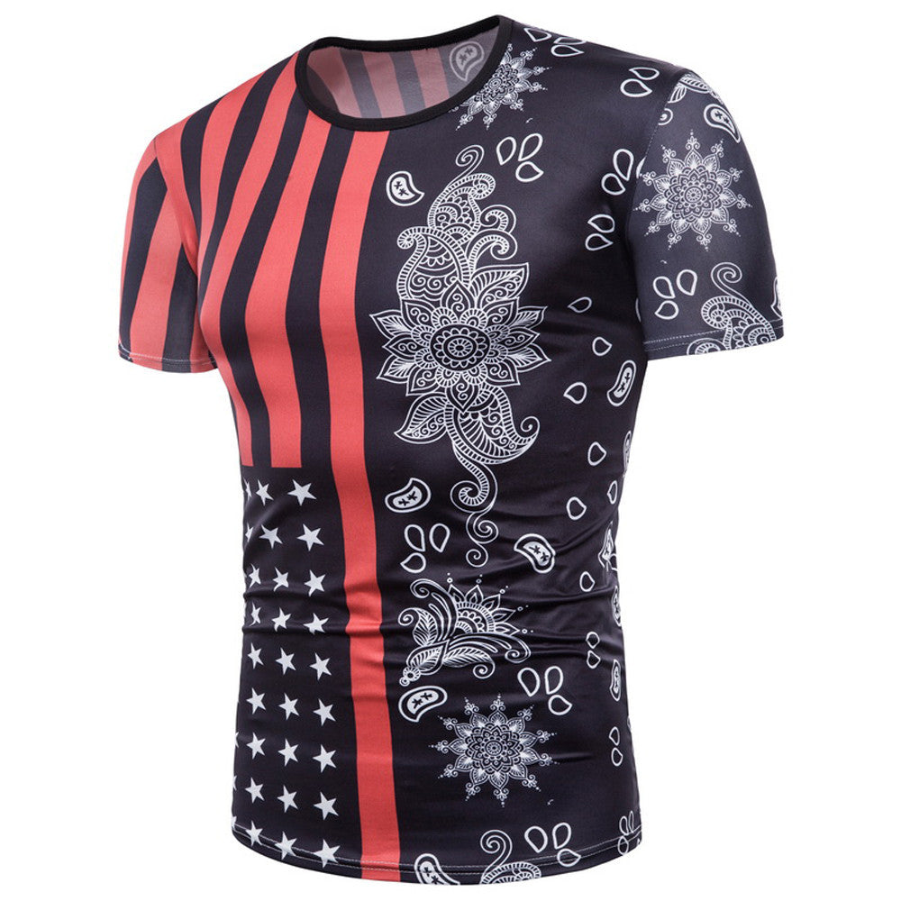 Mens Flag 3D Printing Tees Shirt Short Sleeve