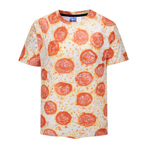 Cool 3D T-shirt Print Funny Pizza Short Sleeve