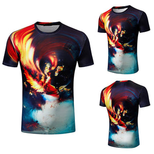 Mens Fashion 3D Printing Shirt Short Sleeve
