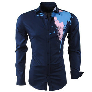 Men's Personality Casual Slim Long Sleeve Printed