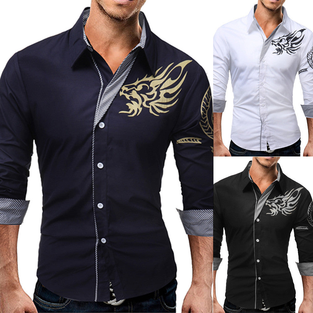 Men's  Casual Cotton Print Slim Fit Long Sleev Shirt