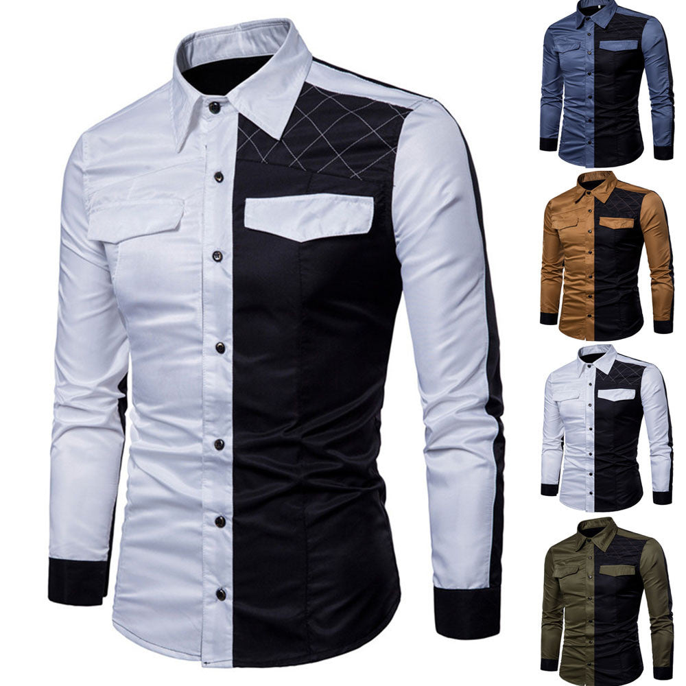 Mens Long Sleeve Oxford Formal Casual Suits Slim Fit