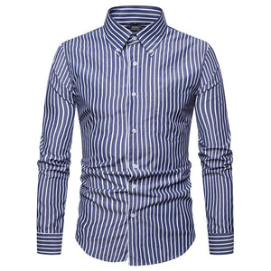 Classic Vertical Stripe Print Mens Shirt