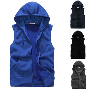 Men  Coat Padded Cotton Vest Hooded Thick Vest