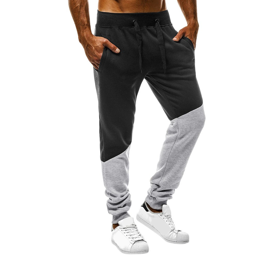 Mens Joggers Patchwork Casual Drawstring Sweatpants