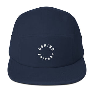 Boring friends logo on a five panel hat