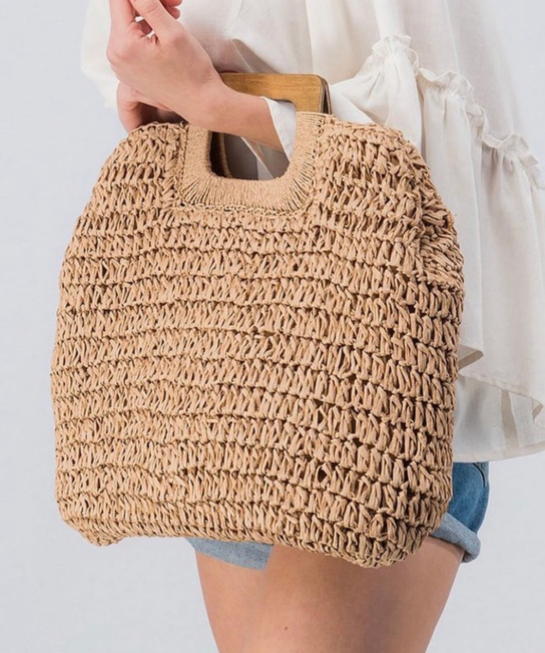 Wooden Handle Boho Bag
