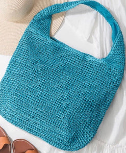 Turquoise Ratan Slouchy Tote Bag