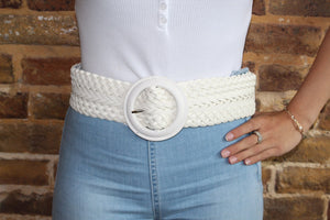 White Wide Belt