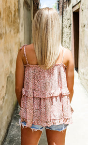 Beautifully Blush tiered ruffle top