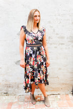 Load image into Gallery viewer, Scarlet Black floral and lace detail dress