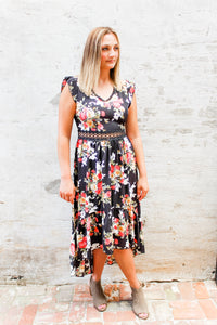 Scarlet Black floral and lace detail dress