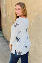 Load image into Gallery viewer, Sally stars lightweight gray sweater top