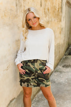 Load image into Gallery viewer, Camryn Camo distressed skirt
