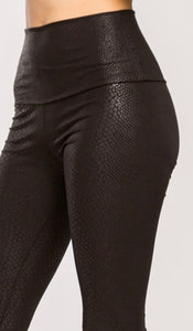 High waisted Python faux leather leggings (Black)