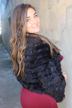 Load image into Gallery viewer, Black faux fur open front jacket