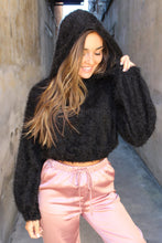 Load image into Gallery viewer, Hannah Hooded black cropped sweater