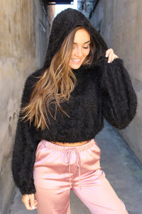 Hannah Hooded black cropped sweater