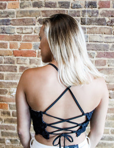 Black Bralette with criss/cross back
