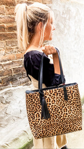 Animal print with a bang bag