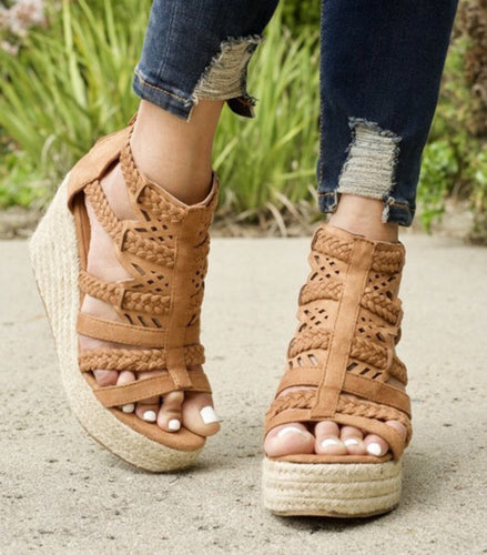 Tan/ Open Toe Casual Wedge