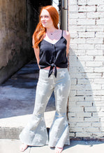 "Load image into Gallery viewer, ""Be a star"" light gray denim flares"