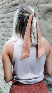 Nude/taupe with polka dots Hairtie/necktie