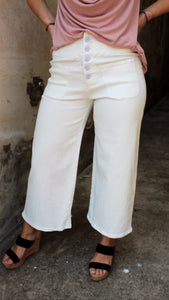 White wide leg denim pants