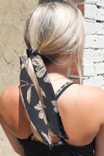 Load image into Gallery viewer, Black with Taupe print hairtie/necktie