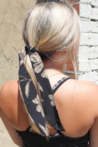 Black with Taupe print hairtie/necktie