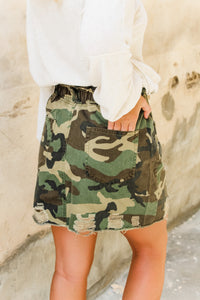 Camryn Camo distressed skirt