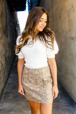 Selina Snakeskin faux leather skirt
