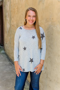 Sally stars lightweight gray sweater top