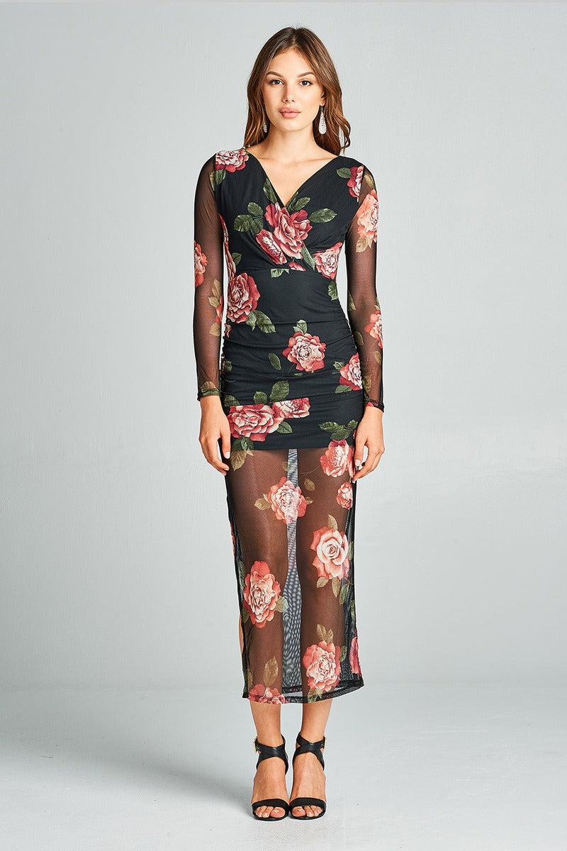 Ladies fashion long sleeve deep v-neck ruched floral printed mesh maxi dress