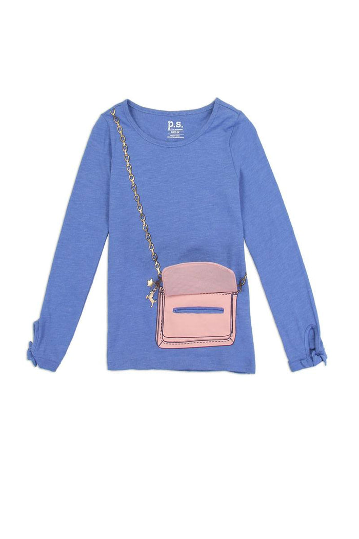 Girls aéropostale 7-14 long sleeve fashion top with 3d flap purse pocket