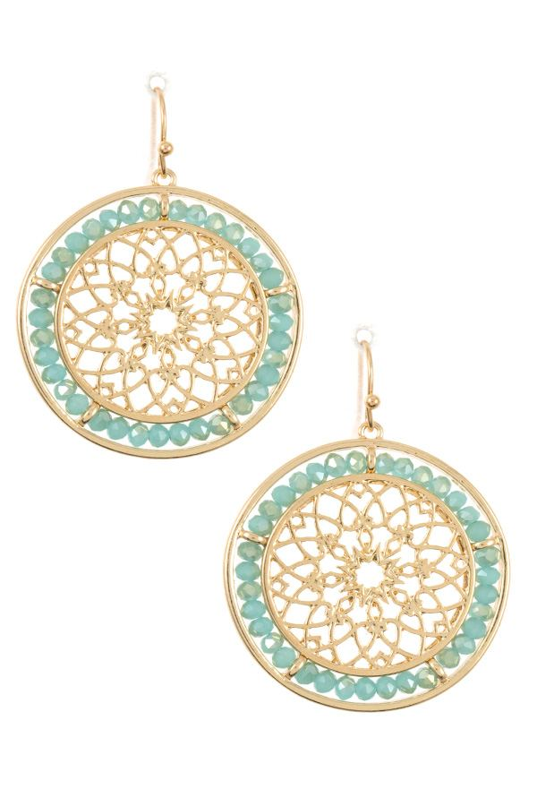 Mandala cut out beaded round dangle earring
