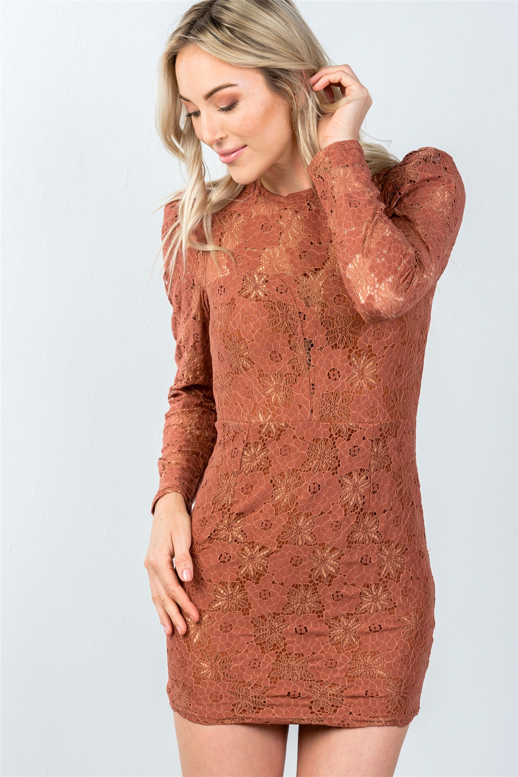 Ladies fashion toffee all floral lace gathered shoulder mini dress