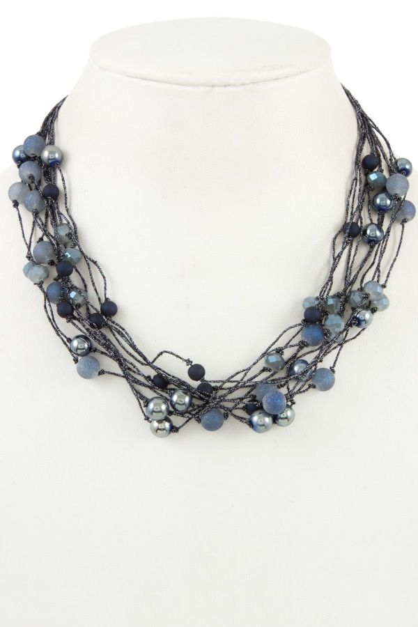Faceted bead multi row necklace
