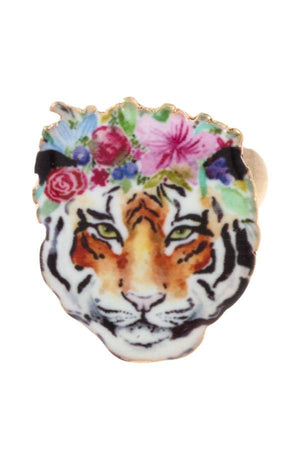 Floral tiger stretch ring